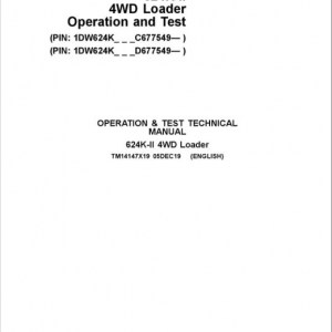 John Deere 624K-II 4WD Loader Service Manual (SN. from C677549 & D677549)