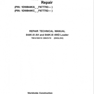 John Deere 844K-II and 844K-II AH 4WD Loader Service Manual (SN. from F677782)
