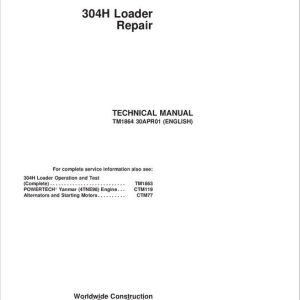John Deere 304H Loader Repair Service Manual