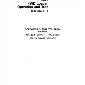 John Deere 304J 4WD Loader Service Manual (SN. from 23372)