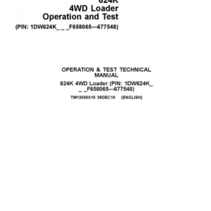 John Deere 624K 4WD Loader Service Manual (SN. from F658065-F677548)