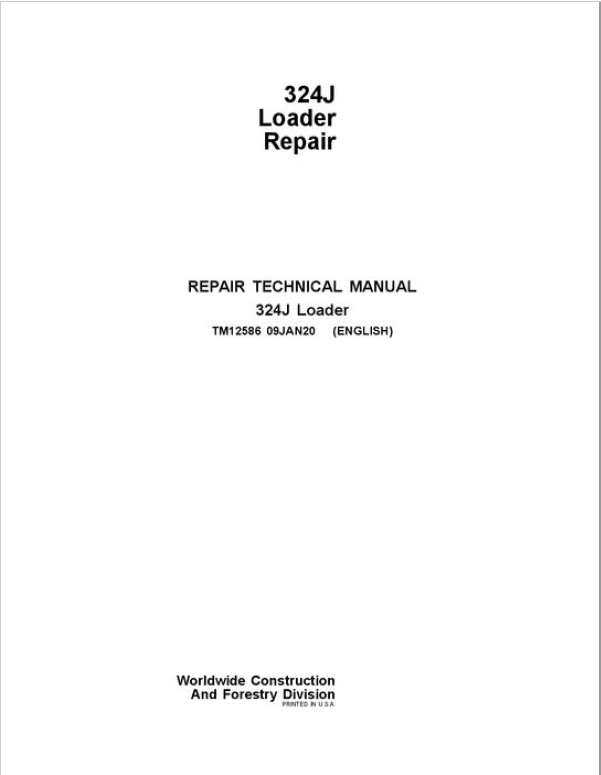 John Deere 324J Loader Repair Service Manual