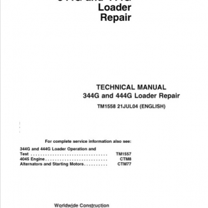 John Deere 344G, 444G Loader Repair Service Manual