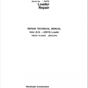 John Deere 344J Loader Service Manual (SN. before 22913)
