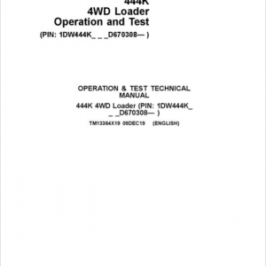 John Deere 444K 4WD Loader Service Manual (SN. from D670308)