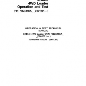 John Deere 524K-II 4WD Loader Service Manual (SN. from D001001)