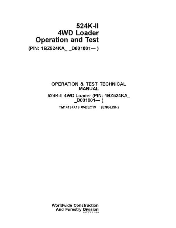 John Deere 524K-II 4WD Loader Service Manual (SN. from D001001)