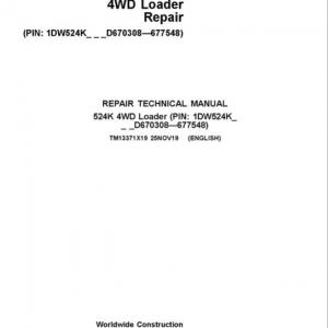John Deere 524K 4WD Loader Service Manual (SN. D670308 - D677548)