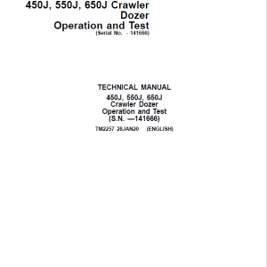 John Deere 450J, 550J, 650J Crawler Dozer Service Manual (SN. before 141666)