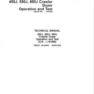 John Deere 450J, 550J, 650J Crawler Dozer Service Manual (SN. before 141666)