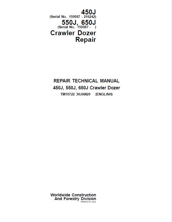 John Deere 450J, 550J, 650J Crawler Dozer Service Manual (SN. from 159987 -216242)