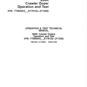 John Deere 850K Crawler Dozer Service Manual (SN. from E178122 - E271265)