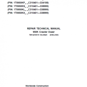 John Deere 950K Crawler Dozer Service Manual (SN. from C310401)