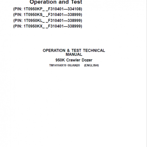 John Deere 950K Crawler Dozer Service Manual (SN. from F310401 - 338999)