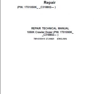 John Deere 1050K Crawler Dozer Service Manual (SN. C318802-)