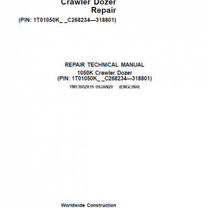 John Deere 1050K Crawler Dozer Service Manual (SN. from C268234 - C318801)