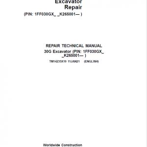 John Deere 30G Excavator Service Manual (SN. K265001-)