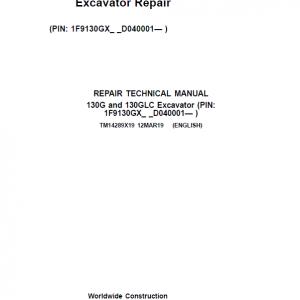 John Deere 130G, 130GLC Excavator Service Manual (SN. D040001-)