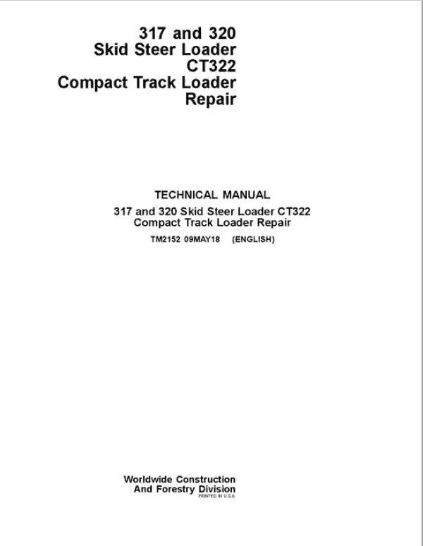John Deere CT322 Compact Loader Service Manual