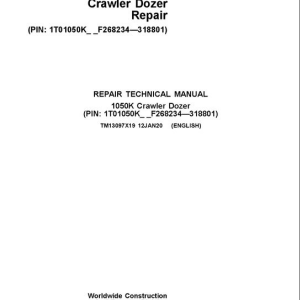 John Deere 1050K Crawler Dozer Service Manual (SN. from F268234-F318801)