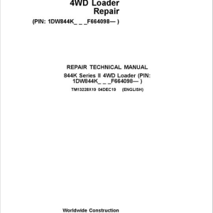 John Deere 844K 4WD Series II Loader Service Manual (S.N after F664098 -)