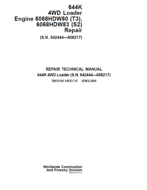 John Deere 644K 4WD Engine S2 & T3 Loader Service Manual (S.N. 642444 - 658217)