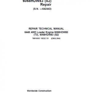 John Deere 644K 4WD Engine S2 & T3 Loader Service Manual (S.N. before 642443)