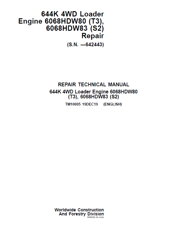 John Deere 644K 4WD Engine S2 & T3 Loader Service Manual (S.N. before 642443)