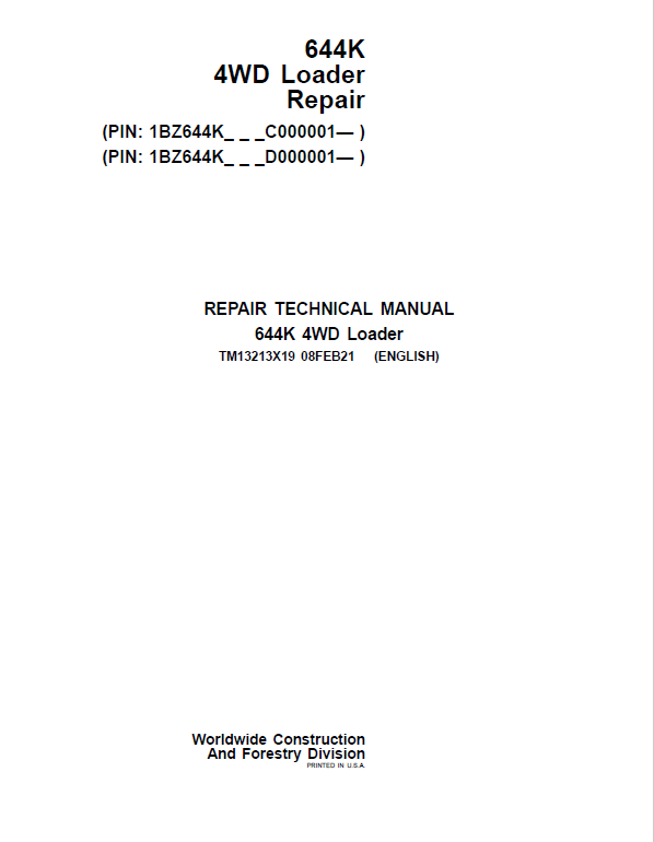 John Deere 644K 4WD Loader Service Manual (S.N. after C000001 & D000001 - )