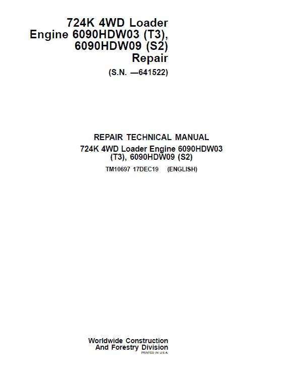 John Deere 724K 4WD Engine S2 & T3 Loader Service Manual (S.N. before 641522)