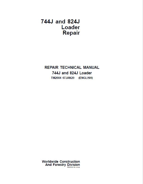 John Deere 744J, 824J 4WD Loader Service Manual