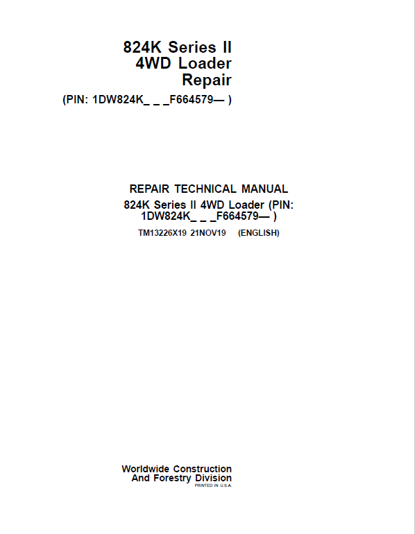 John Deere 824K 4WD Series II Loader Service Manual (S.N after F664579 -)