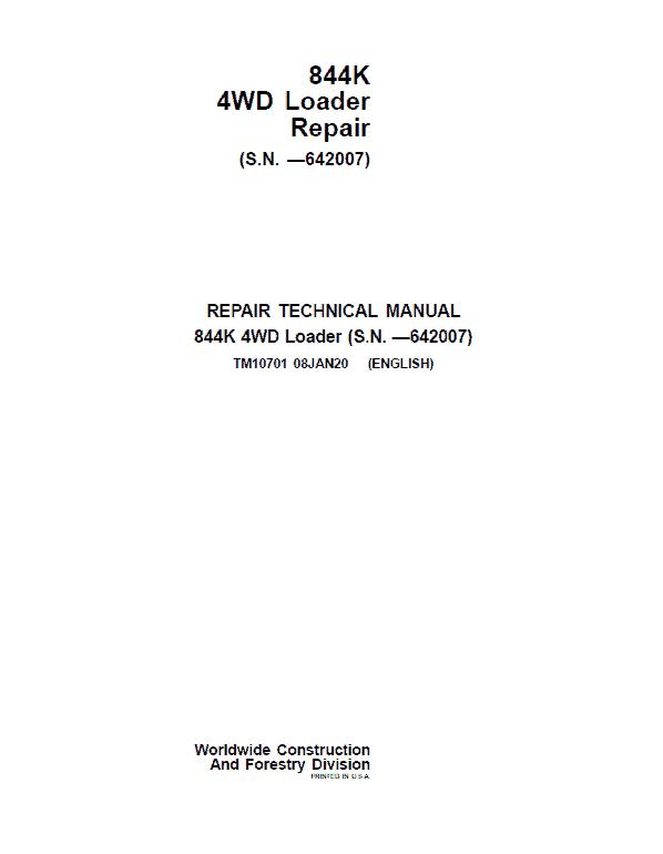 John Deere 844K 4WD Loader Service Manual (S.N before - 642007)