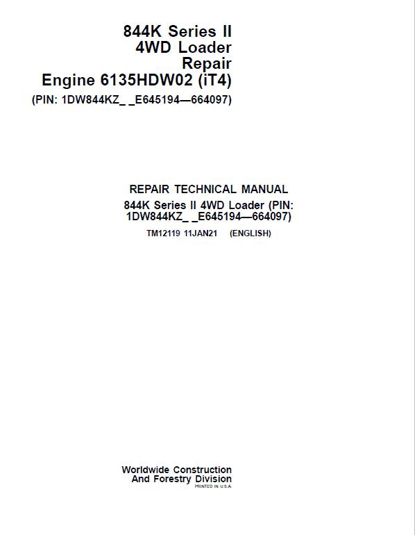 John Deere 844K-II 4WD Engine (iT4) Loader Service Manual (S.N E645194 - E664097)