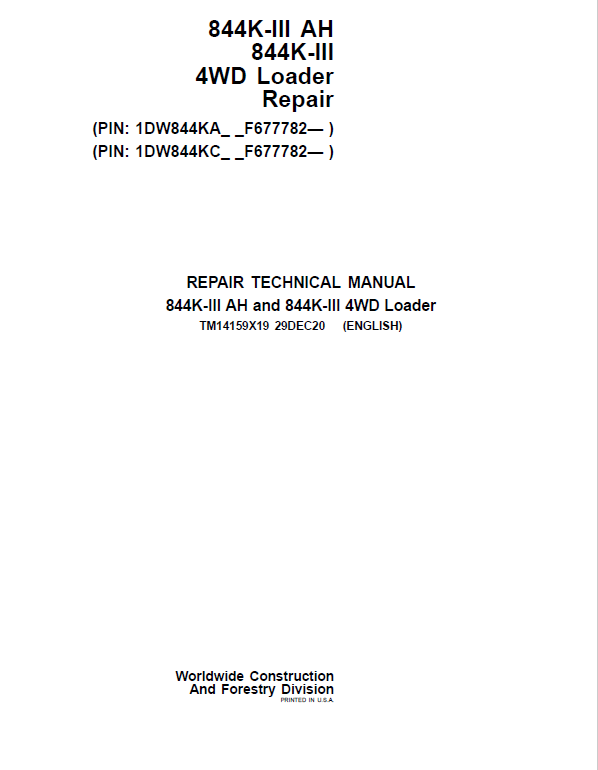 John Deere 844K-III AH, 844K-III 4WD Loader Service Manual (S.N after F677782 - )