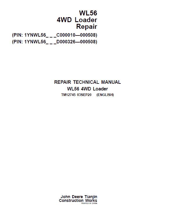 John Deere WL56 4WD Loader Manual ( S.N C000010- C000508 & D000326 - D000508)