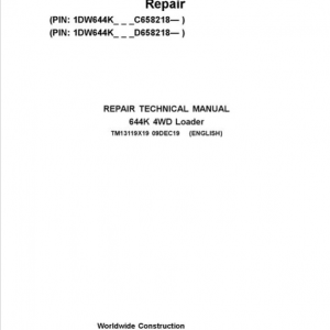 John Deere 644K 4WD Loader Service Manual (S.N. after C658218 & D658218 - )