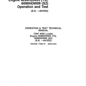 John Deere 724K 4WD Engine S2 & T3 Loader Service Manual (S.N. before 641522)