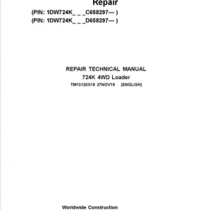 John Deere 724K 4WD Loader Service Manual (S.N. after C658297 & D658297 - )