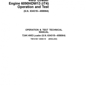 John Deere 724K 4WD Engine 6090HDW13 (iT4) Service Manual (S.N 634315 - 658064)