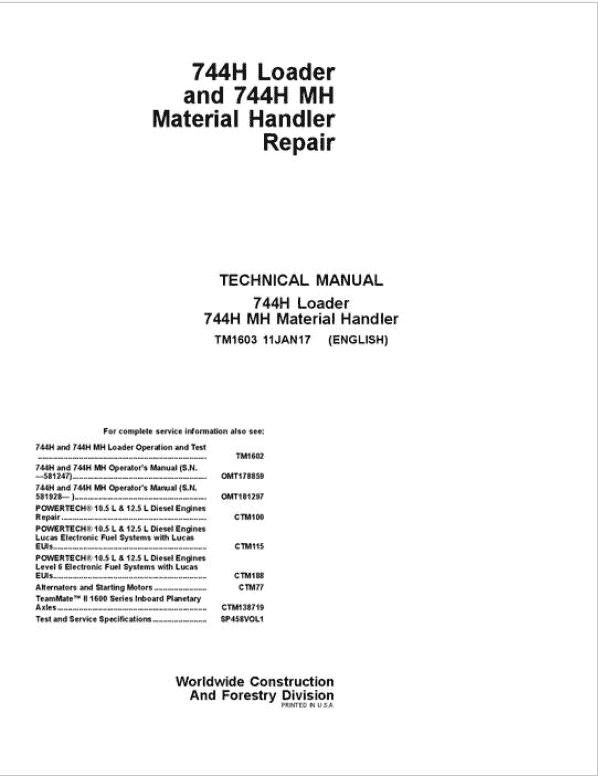 John Deere 744H and 744H MH Loader Service Manual