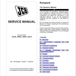 JCB JS140, JS200, JS205, JS215 Excavator Service Manual