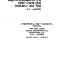 John Deere 744K 4WD Engine T3 & S2 Loader Service Manual (S.N before – 632967 )