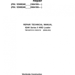John Deere 824K 4WD Series II Loader Service Manual (S.N after C664100 & D664100 -)