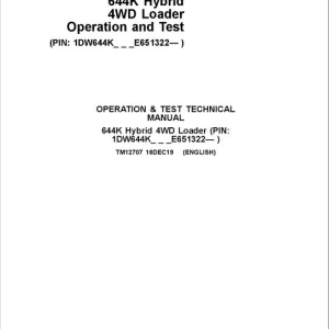 John Deere 644K 4WD Loader Service Manual (S.N after E651322 -)