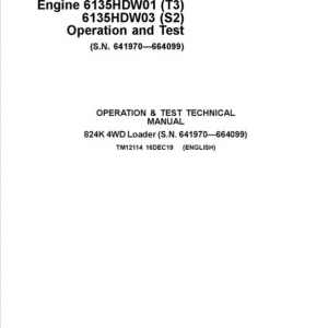 John Deere 824K 4WD Engine T3 & S2 Loader Service Manual (S.N 641970 - 664099)