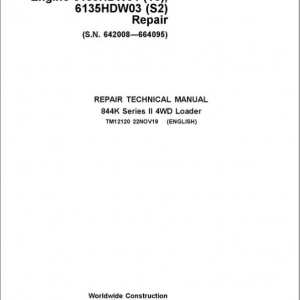 John Deere 844K Series II 4WD Engine T3 & S2 Loader Service Manual (S.N 642008 - 664095)