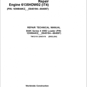 John Deere 844K-II 4WD Engine (iT4) Loader Service Manual (S.N E645194 - E664097)