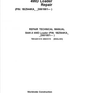John Deere 544K-II 4WD Loader Service Manual (S.N after D001001 -)