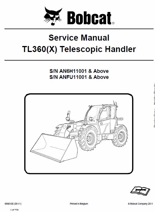 Bobcat TL360 and TL360X Telescopic Handler Service Manual